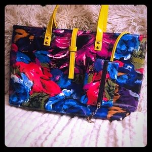 Floral Print Tote Bag with Pouch